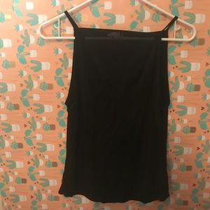 Plain black sleeveless shirt